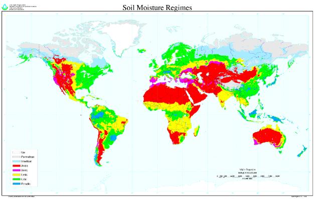 Global map of soil moisture regimes. Developed by USDA-NRCS, Soil ...
