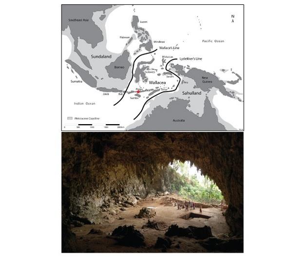 Un mapa de la isla del sureste de Asia en la región de Flores y una fotografía de la cueva de Liang Bua, donde el Homo floresiensis <i> se recuperaron </ i> fósiles.